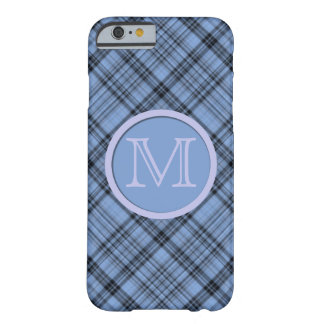 Diagonal Cornflower Blue Plaid Monogram Barely There iPhone 6 Case