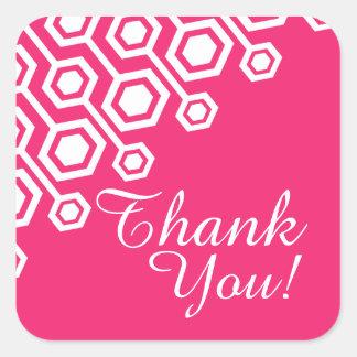 Diagonal Geometric Thank You | fuschia Square Sticker