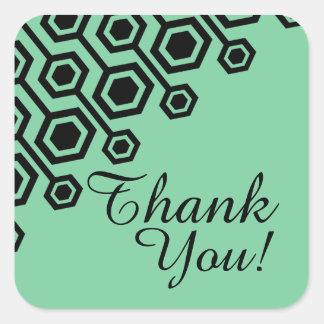 Diagonal Geometric Thank You | mint Square Sticker
