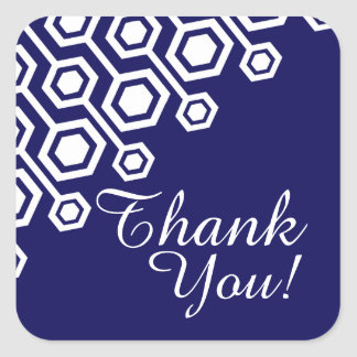 Diagonal Geometric Thank You | navy Square Stickers