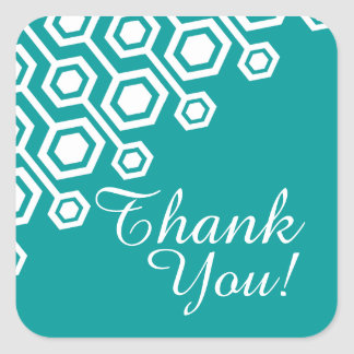 Diagonal Geometric Thank You | teal Square Stickers