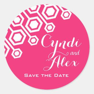 Diagonal Geometric Wedding Favor | fuschia Round Sticker