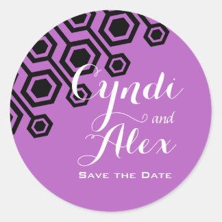 Diagonal Geometric Wedding Favor | lilac Round Sticker