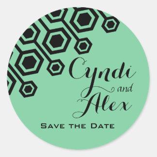 Diagonal Geometric Wedding Favor | mint Round Sticker