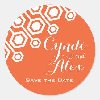 Diagonal Geometric Wedding Favor | orange Round Sticker