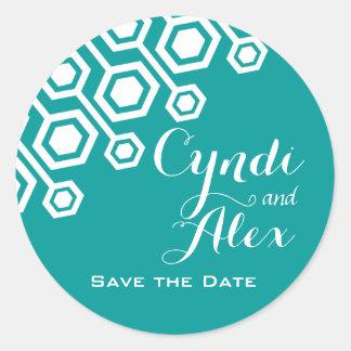 Diagonal Geometric Wedding Favor | teal Round Sticker