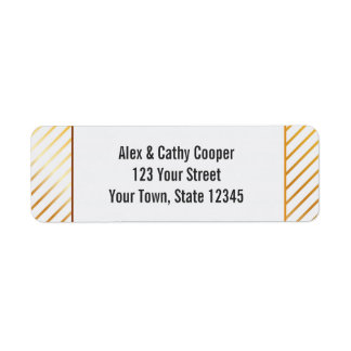 Diagonal Gold Stripes Return Address Label