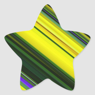Diagonal Green, Yellow, and Purple Pattern Star Sticker