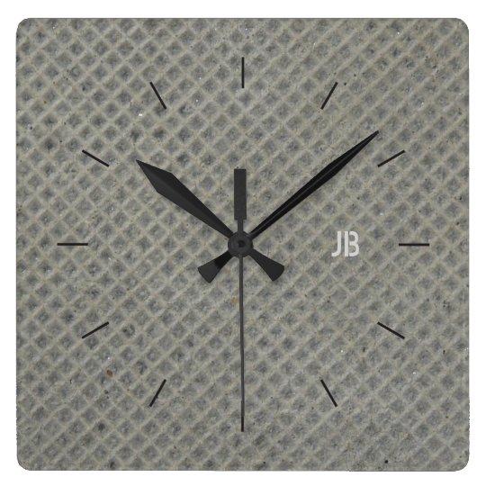 DIAGONAL GRID CONCRETE | industrial decor Wall Clocks