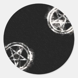 Diagonal Inverted Pentagrams Classic Round Sticker