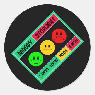Diagonal Moody Stoplight Logo Round Sticker