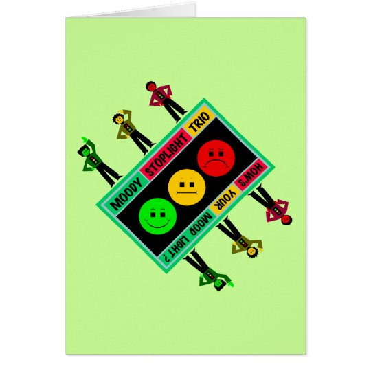 Diagonal Moody Stoplight Trio Logo with Characters Card