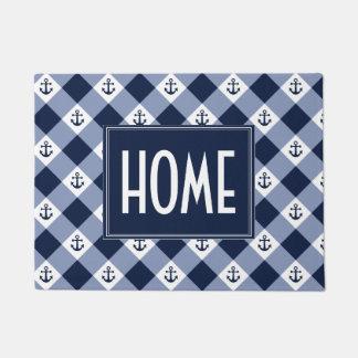 Diagonal nautical checkered gingham pattern doormat