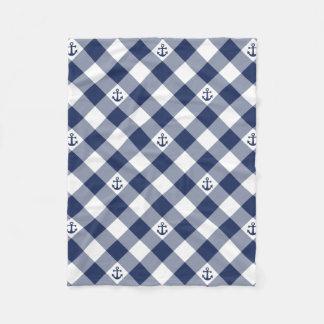 Diagonal nautical checkered gingham pattern fleece blanket