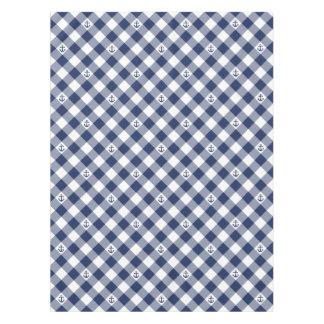 Diagonal nautical checkered gingham pattern tablecloth