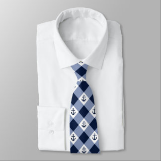 Diagonal nautical checkered gingham pattern tie