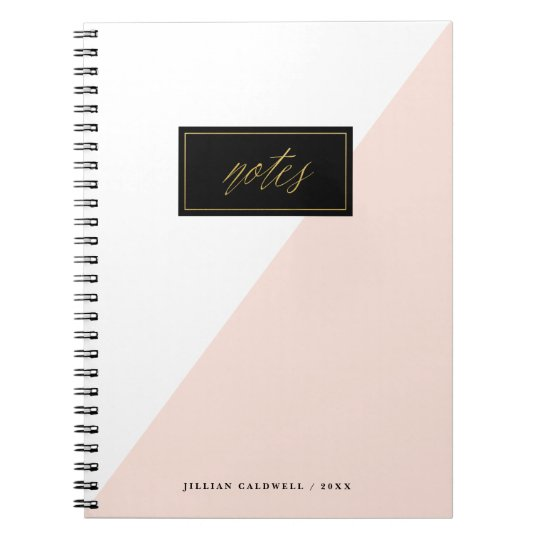 Diagonal Notes faux foil spiral bound notebook