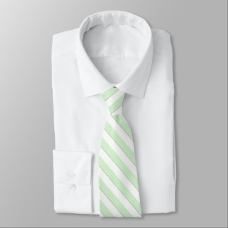 Diagonal Pastel Green Stripes on Custom Color Tie