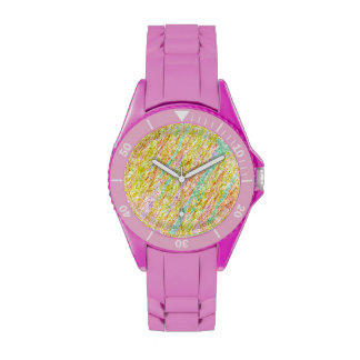 Diagonal Pastel Rainbow Scribbles Wrist Watch
