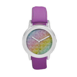 Diagonal Pastel Rainbow Scribbles Wrist Watches