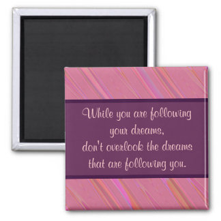 Diagonal Pink Abstract Pattern Square Magnet