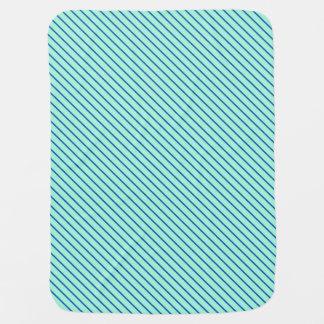 Diagonal pinstripes - aqua  and navy baby blanket