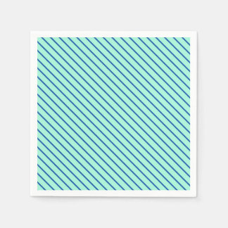 Diagonal pinstripes - aqua  and navy disposable napkins