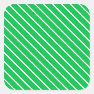 Diagonal pinstripes - emerald green and white square sticker