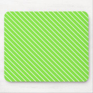 Diagonal pinstripes - lime green and white mousepad