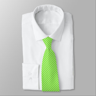 Diagonal pinstripes - lime green and white tie