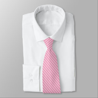 Diagonal pinstripes - shell pink and white tie