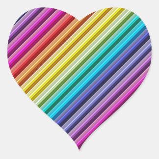 Diagonal Rainbow Heart Sticker
