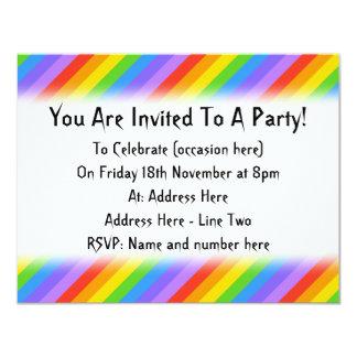 Diagonal Rainbow Stripes Pattern. 11 Cm X 14 Cm Invitation Card