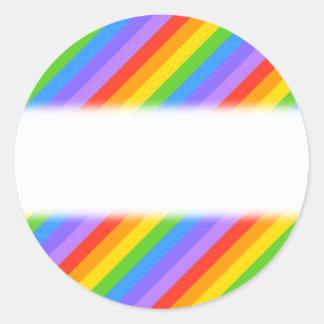 Diagonal Rainbow Stripes Pattern. Classic Round Sticker