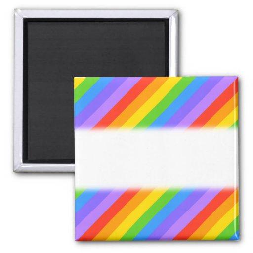 Diagonal Rainbow Stripes Pattern. Refrigerator Magnets