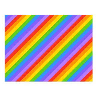 Diagonal Rainbow Stripes Pattern. Postcard