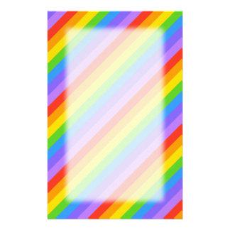 Diagonal Rainbow Stripes Pattern. Stationery