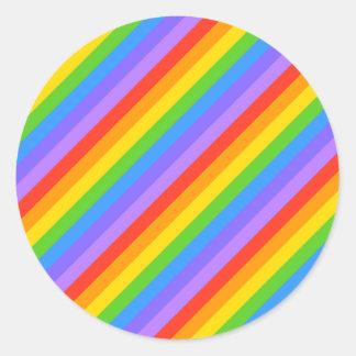 Diagonal Rainbow Stripes Pattern Round Stickers