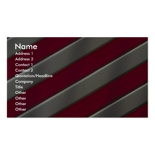 Diagonal red and silver bars business card template