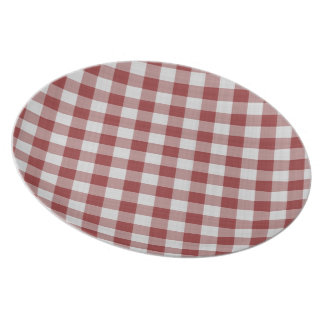Diagonal Red Gingham Plates