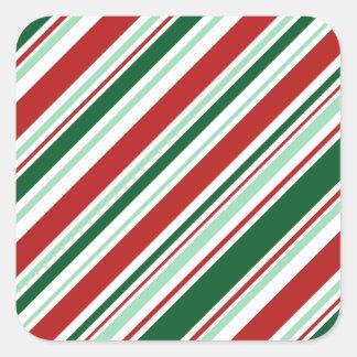 Diagonal Red, Green, White Candy Stripes Square Sticker