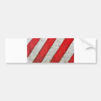 Diagonal red white lines urban texture traffic sig bumper sticker