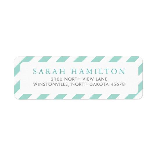 Diagonal Sea-foam Green Stripes | Return Address Return Address Label