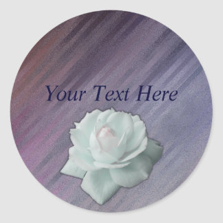 Diagonal Silvery Purple Abstract with Rose Round Sticker