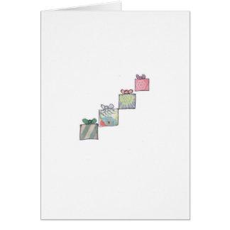 Diagonal stack of presents greeting card