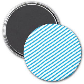 Diagonal Stripe Blue Pattern 7.5 Cm Round Magnet