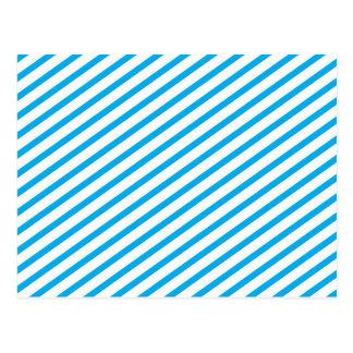 Diagonal Stripe Blue Pattern Postcard