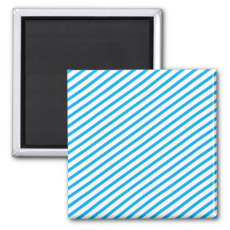 Diagonal Stripe Blue Pattern Square Magnet