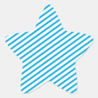 Diagonal Stripe Blue Pattern Star Sticker