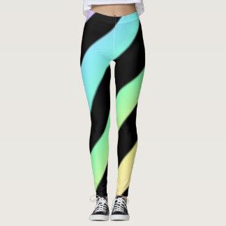 Diagonal Stripe Leggings Pastel And Black